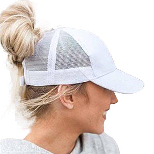 Dasongff Mode Pferdeschwanz Kappe Einstellbare Baseballmütze Coole Mütze Hip-Hop Mesh Cap Sonnenhut Strandhut Freizeithut (Weiß)