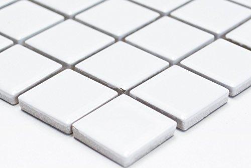 Mosaik-Netzwerk Mosaikfliese Quadrat uni weiß glänzend Keramik Mosaik, Mosaikstein Format: 2,5x2,5x6 mm, Bogengröße: 330x302 mm, 1 Bogen/Matte