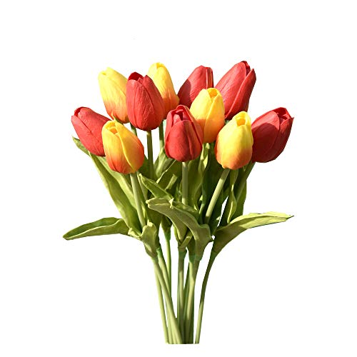 Mandy's 12pcs Orange and Red Artificial Latex Tulips for Party Home Wedding Decoration