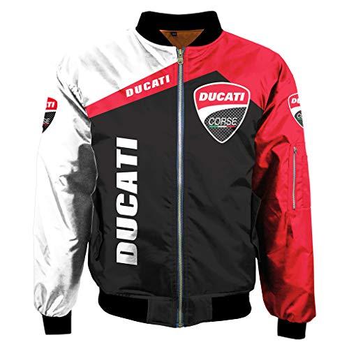 LIXIYU Herren-Bomber Modischer Mantel Digital Print Ducati Auto-Logo Jacke Windjacke Leichte Reißverschluss-Jacken-Mantel,1-XXXXL