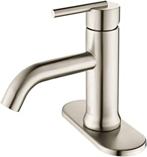 HOMELODY Bathroom Faucet Single Handle 1 Hole or 3 Hole Deck Mount 304 Stainless Steel Lavatory Faucet Brushed Nickel, 8037BN