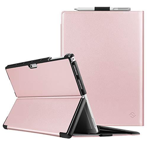 Fintie Schutzhülle für Surface Pro 7 Plus/Pro 7 / Pro 6 / Pro 5 - Business Hülle mit Harter Schale, anpassbarer Betrachtungswinkel, kompatibel mit der Type Cover Tastatur, Roségold