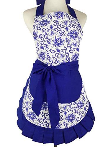 Kitchen Aprons Woman Retro Vintage Girl Polka Dot Cooking Pinafore Christmas Apron Dress (Floral Blue)