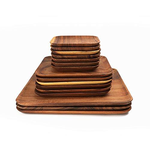 Vierkante houten panplaat Fruitgerechten Schotel Theeblad Dessert Diner Brood Pizza Rechthoek Massief houten plaat Theeblad, Square20x20CM