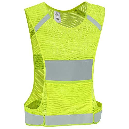IDOU Reflective Vest Safety Running Gear with Pocket, Ultralight &Adjustable Waist&360°High Visibility for Running,Jogging,Biking,Motorcycle,Walking,Women & Men (neon Yellow) (neon Yellow, Large)