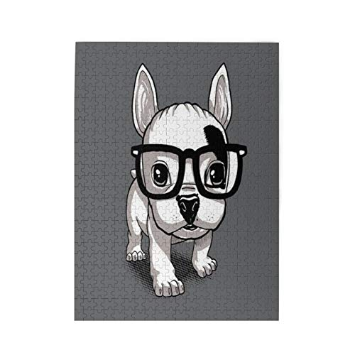 Jigsaw Puzzles 500 Piece Lovely Striped Frenchie Puppy Jigsaw Puzzles Family Games 500 Pieces Puzzle for Adults Kids