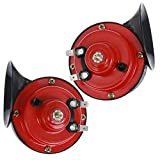 Aliyaduo 2 Pcs 300DB Super Loud Train Horn for Truck Train Boat Car Air Electric Snail Single Horn, 12v Waterproof Double Horn Raging Sound Raging Sound for Car Motorcycle