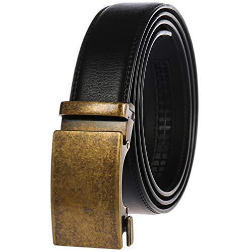 "Filgate Men's Leather Ratchet Dress Belt - Genuine Leather Belt for Men - with Automatic Buckle,Elegant Gift Box Black 30""-46"""