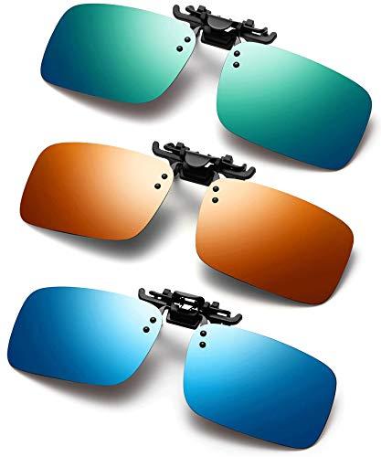 Polarized Clip on Sunglasses 3 PACK Anti-Glare UV Protection Flip-up Sunglasses Over Prescription Glasses (blue&orange&green)