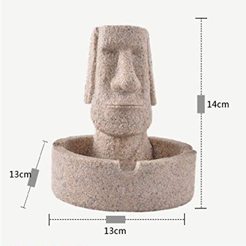 yueyue947 5.5 '' Easter Day Decoration Ashtray de Piedra Isla de Pascua Moai Figuritas   Estatuillas Decoraciones navideñas para el hogar/Cenicero