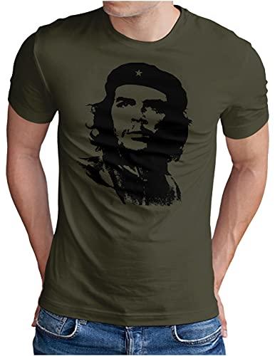 OM3® Che-Guevara T-Shirt | Herren | Viva La Revolution Castro Cuba Havana | Oliv, XXL