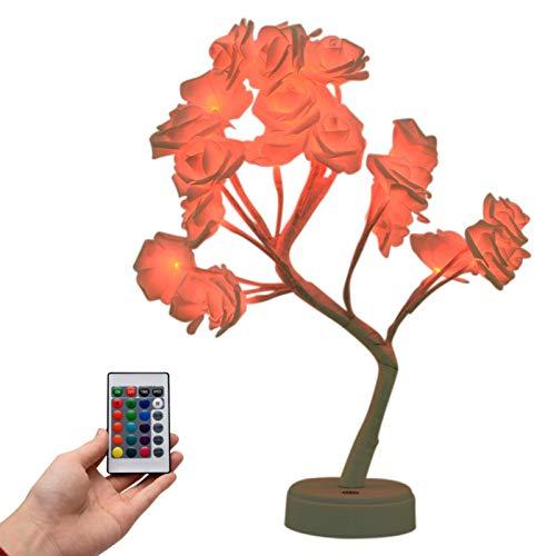 Luz de árbol de flores de rosas - Lámpara de rosas de árbol de flores que cambia de color con control remoto y temporizador, lámpara de escritorio ajustable, luces de hadas de flores, regalo