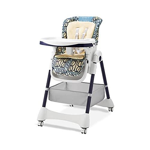 WXHXSRJ Trona para bebés y niños pequeños, Silla de Comedor con Bandeja extraíble, arnés de 5 Puntos y Patas de Altura Ajustable, fácil de Montar, para niños y niñas