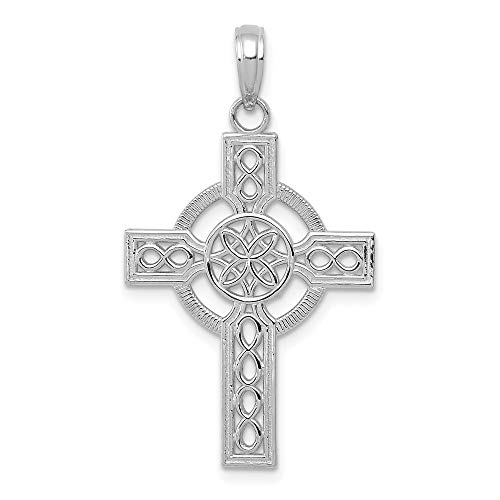 14K White Gold Diamond-cut Celtic Religious Themed Cross Charm Necklace Pendant with 18' Length Chain