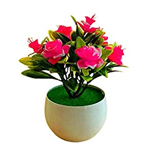 Afco Artificial Mini Potted Plants,Artificial Plant Pot Daffodil Pattern Simulated Flower Plastic Garden Yard Fake Potted Plant for Home Office Desk Room Greenery Decoration Pink