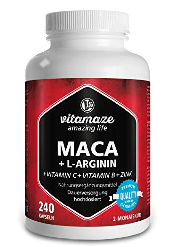 Vitamaze Maca High Strength Capsules, 4000 mg Maca Root Powder + L-Arginine + Vitamins + Zinc, 240 Capsules for 2 Months, Organic Supplement without Additives, German Quality