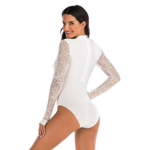 Luqifei - Traje de baño de una pieza de manga larga con traje de baño sexy surf suit protección solar mujer Hot Spring traje de buceo adecuado para playa blanco blanco S