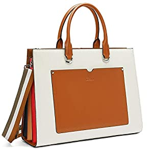 CLUCI Women Briefcase Genuine Leather 15.6 Inch Laptop Slim Business Ladies Shoulder Bag Black 7