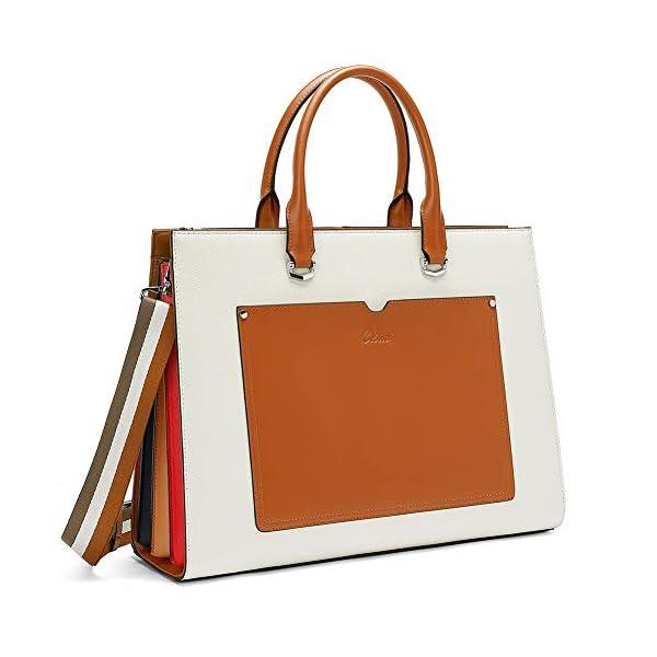 CLUCI Women Briefcase Genuine Leather 15.6 Inch Laptop Slim Business Ladies Shoulder Bag Black 1
