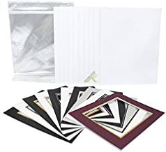 Golden State Art, Pack of 10 11x14 Double Picture Mats with White Core Bevel Cut for 8x10 Pictures + Backing + Bags, Mix Color