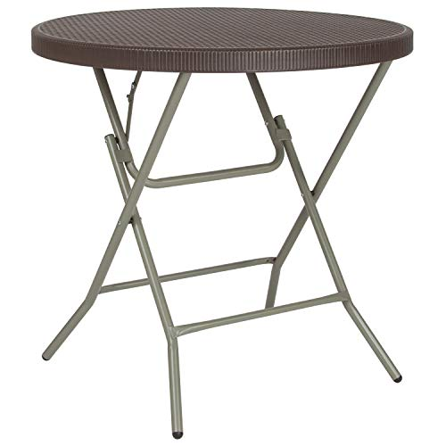 Flash Furniture 2.6-Foot Round Brown Rattan Plastic Folding Table
