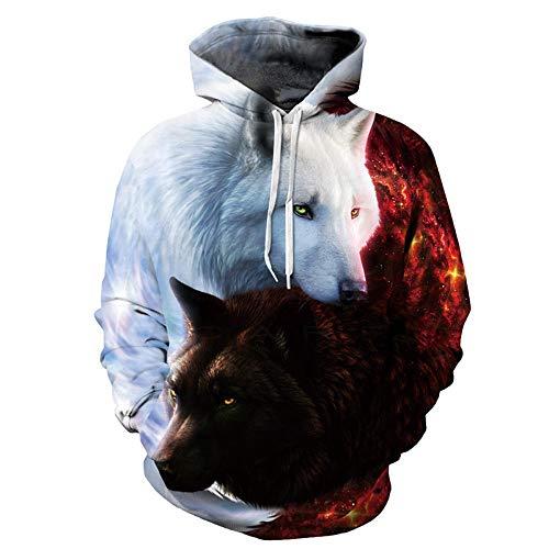 Poouoooy trui met capuchon, 3D-print, met capuchon, wolf, driedimensionaal, bedrukt, oversized, 1 paar