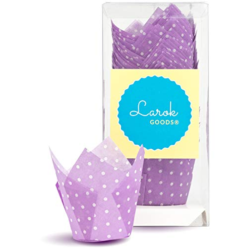 Tulip Cupcake Liners (Polka Violet)   100 count
