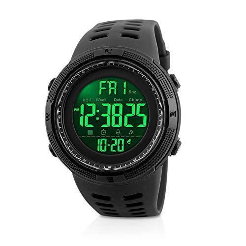 Herren Digital Sport Uhren Welltop Outdoor wasserdichte Armbanduhr mit Wecker Chronograph und Countdown Uhr, LED Licht Gummi Schwarz große Anzeige Digitaluhren für Herren