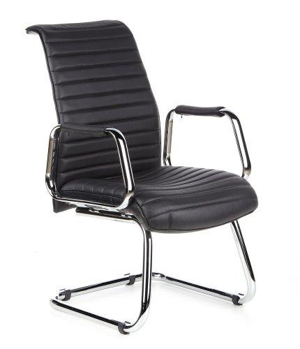 hjh OFFICE 600901 Sedia da conferenza/Sedia cantilever ASPERA V pelle nero, cromo, alta qualità, sedia visitatore, sedia per ufficio, cantilever, braccioli fissi, ergonomica, imbottitura spessa