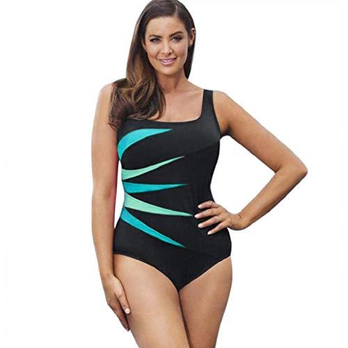 Dragon868 Trajes de baño Bañador Deportivo Mujer, Mujer Una Pieza Rayas de Colores, Push Up Bikini Bañadores Deportivos con Relleno Talla Grande Traje de Buceo Surf AtléTico, L-XXXXXL