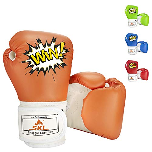 SKL Kids Boxing Gloves 4oz Training Gloves for Children Cartoon Sparring Boxing Gloves Training Mitts Junior Punch PU Leather Age 5-12 Years Orange