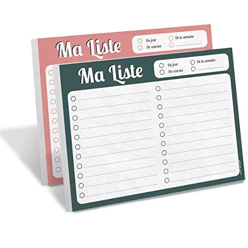 """WHINAT - BLOC NOTE & TO DO LIST -""""Ma liste"""" - Votre memo/liste à portée de main pour planifier, organiser & ne plus rien oublier - Pack 2 carnets - 1 Vert & 1 Rose !"""
