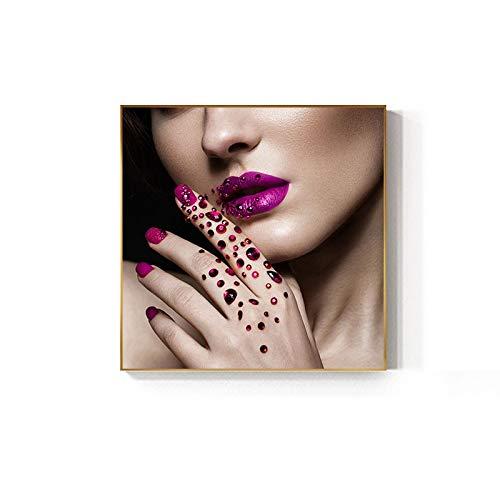 fdgdfgd Mode Mädchen Lippen Diamant Kunst Nagel Schönheit Poster Druck Klassische Leinwand Malerei Wohnzimmer Nagel Kunst Gebraucht Shop Nagel Schönheit Wandmalerei