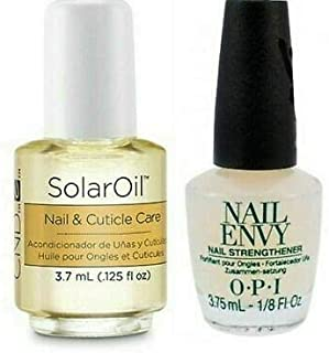 MINI Size Nail Envy Strengthener Nail Treatment + SolarOil Nail & Cuticle Care, for Dry, Damaged Cuticles, Infused with Jo...