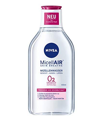NIVEA MicellAIR Skin Breathe Mizellenwasser für trockene Haut im 1er Pack (1 x 400 ml), All-in-1 Make-up Entferner für erhöhte Sauerstoffaufnahme, Mizellen Reinigungswasser für 0 % Produktrückstände