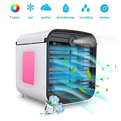 Hisome Portable Air Cooler, 4-In-1 Small Air Conditioning Humidifier Purifier Aromatherapy, 3 Speeds 7 Colors LED Lights USB Personal Space Air Cooler Desktop Mini Cooling Fan For Home Office Outdoor