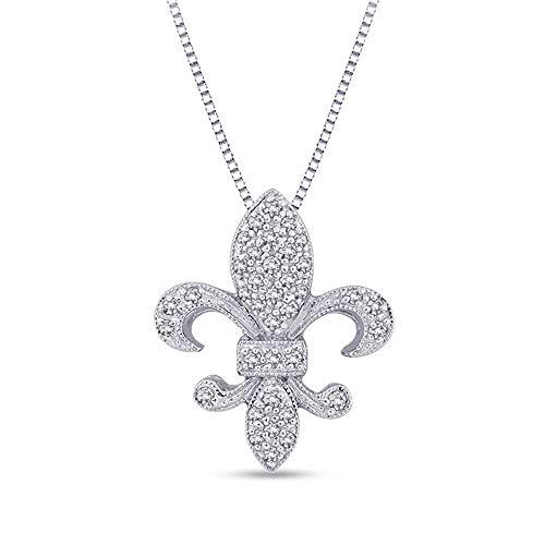 Ani's 1.25 CT. T.W. Round Cut D/VVS1 Diamond Fleur-de-Lis Pendant In 14K White Gold Plated 925 Silver