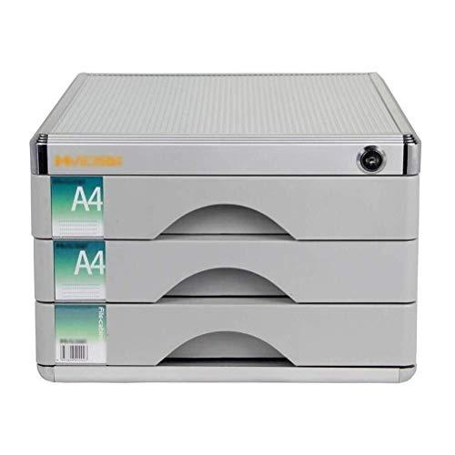Archivadores Unidades de Almacenamiento con Cerradura de cajón archivador adopta Anti-Off Hebilla Oficina extraíble Tipo de Metal sólido - 30x36x20.5cm Caja de Archivo (Color : Silver)