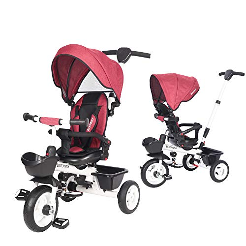 BOOWAY Baby Tricycle, 6-in-1 Kids Stroller Tricycle with Adjustable Push Handle, Removable Canopy, Safety Harness for 6 Months - 5 Year Old