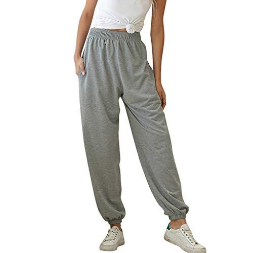 Andouy Jogginghose Damen Lounge-Hose Casual Elastische Taille Haremshose Sweathose Sporthose(XL.Grau)