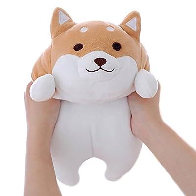 "Levenkeness Shiba Inu Dog Plush Pillow, Cute Corgi Akita Stuffed Animals Doll Toy Gifts for Valentine's Gift, Christmas,Sofa Chair, Brown Round Eye, 15"""