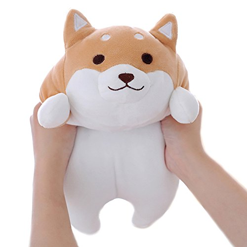 Levenkeness Shiba Inu Dog Plush Pillow, Cute Corgi Akita Stuffed Animals Doll Toy Gifts for Valentine's Gift, Christmas,Sofa Chair, Brown Round Eye, 15'