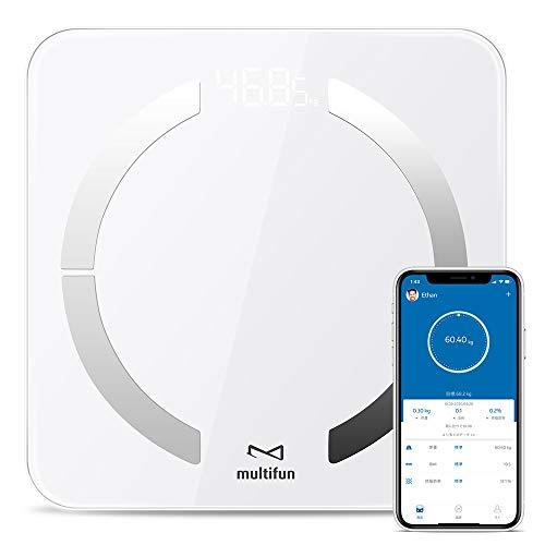 【最新改善版】体重・体組成計 multifun 体脂肪計 体組成計 体重計 体重/体脂肪率/体水分率/推定骨量/基礎代謝量/内臓脂肪レベル/BMIなど測定可能 Bluetooth対応 iOS/Androidアプリで健康管理 ホワイト