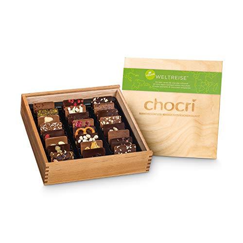 chocri 'Weltreise' Vegan - scatola regalo in legno composta da 24 cioccolatini artigianali vegani...