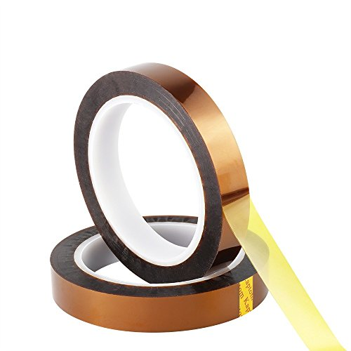Retermit 2 Rolls 10mm X100ft Kapton Tape Sublimation Tape - for Heat Transfer Vinyl,3D Printers High Temperature Tape PCB Tape Heat Resistant Tape Heat Tape