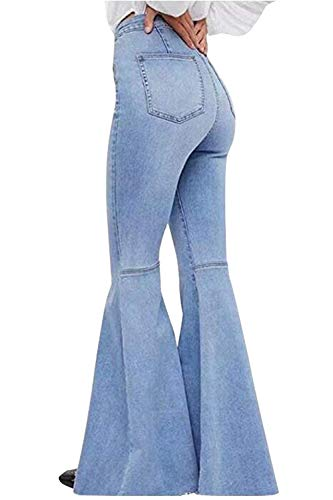 Women's Fashion Bell Bottom Pants High Waist Tassel Stretch Curvy Fit Jeans Light Blue, US 14