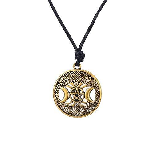 NOLOGO Collar de Pared de Luna vikinga, Cadena de clavícula de Personalidad Hombre Estilo Boho Distinguido (Color : Bronze)