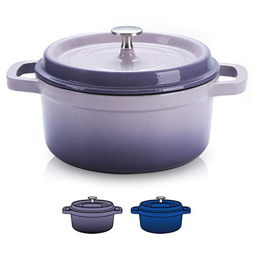 SULIVES Non-Stick Enamel Cast Iron Dutch Oven Pot with Lid Suitable for bread baking use on gas electric oven 3 Quart for 2-3 people(Purple)