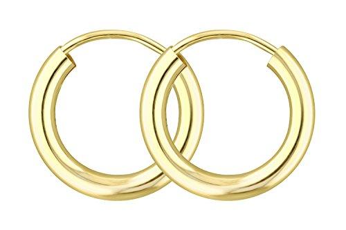 Filigrane Creolen Gold Klein 15 mm 333 aus Gelbgold, Damen Goldohrringe Echt Gold mit Stempel, Breite 2,5 mm, Gewicht ca. 0.7 g, Made in Germany