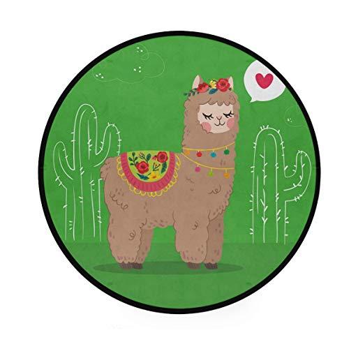 LORONA Alpaca with Love Concept, Teppich, rund, rutschfest, für Wohnzimmer, Schlafzimmer, Bad, Heimdeko, 91 cm